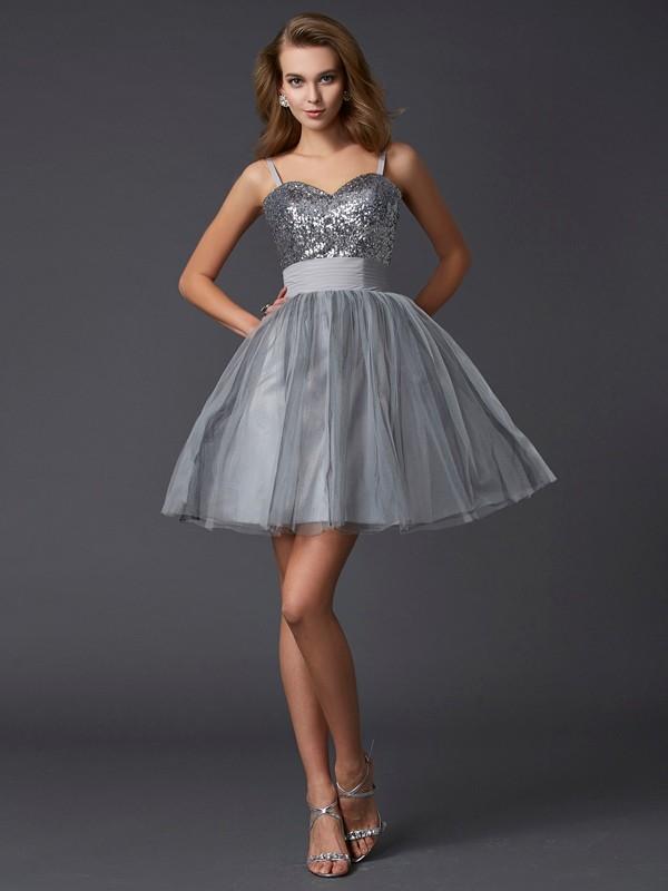 Sweet Sensation Princess Style Spaghetti Straps Short Organza Homecoming Dresses