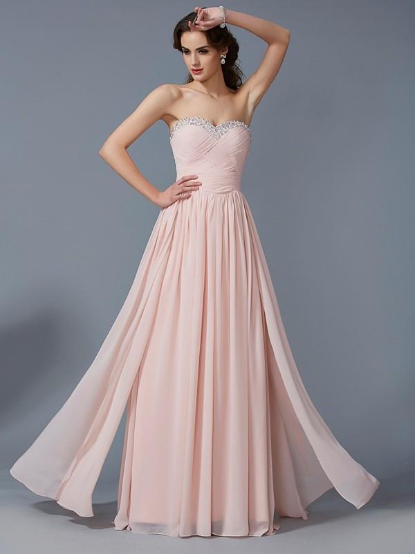 First Impressions Princess Style Sweetheart Pleats Long Chiffon Dresses