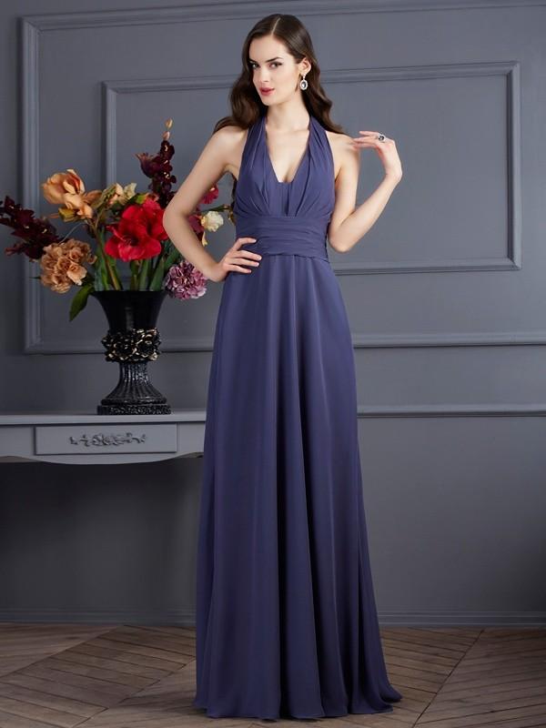 Visual Moment Princess Style Halter Pleats Long Chiffon Dresses