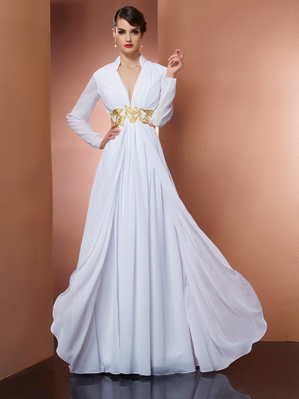 Too Much Fun Princess Style V-neck Long Chiffon Dresses