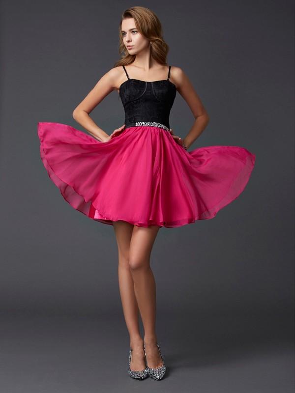 Open to Adoration Princess Style Spaghetti Straps Short Chiffon Homecoming Dresses