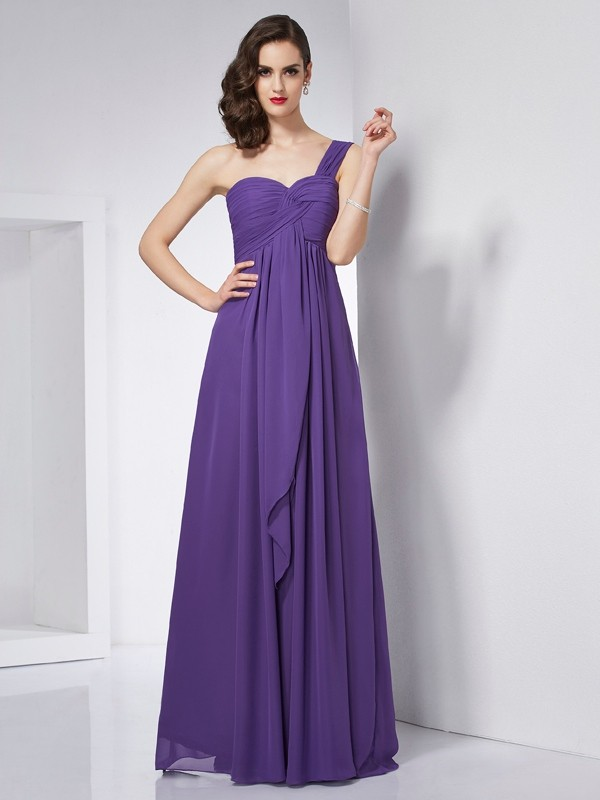 Memorable Magic Princess Style One-Shoulder Pleats Long Chiffon Dresses