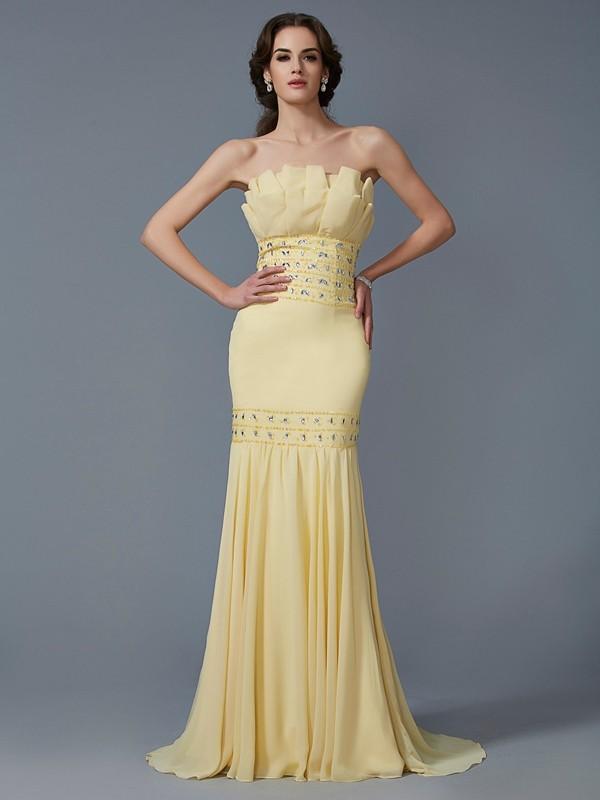 Lively Identity Mermaid Style Strapless Beading Long Chiffon Dresses