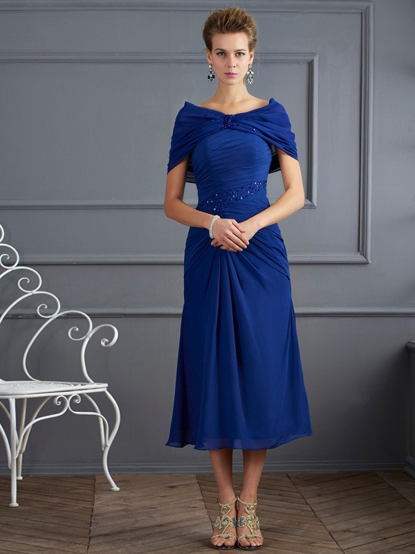Yours Truly Sheath Style Scoop Beading Short Chiffon Mother of the Bride Dresses