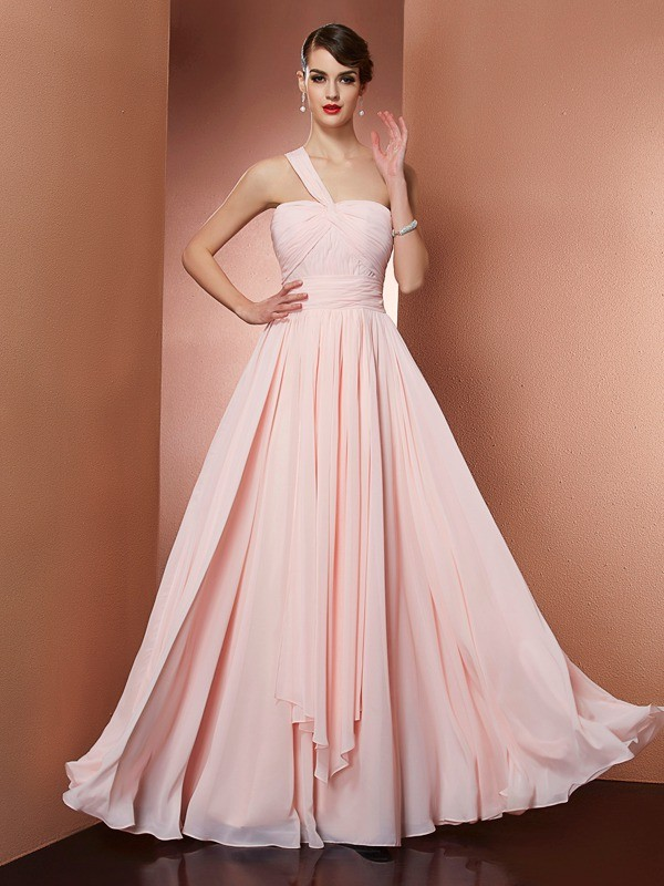 Touch of Texture Princess Style One-Shoulder Pleats Long Chiffon Dresses
