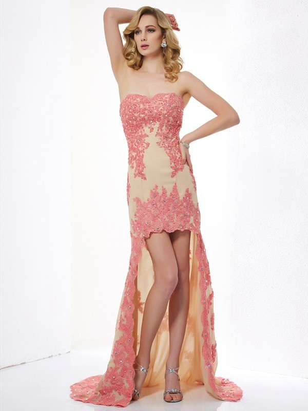 Modern Mood Princess Style Sweetheart Applique High Low Lace Dresses