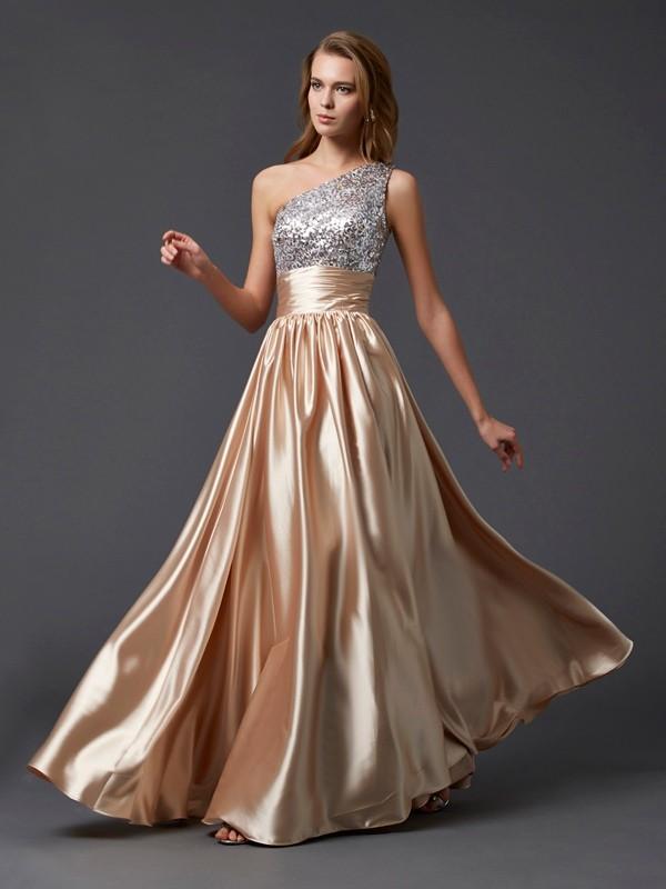 Aesthetic Honesty Princess Style One-Shoulder Paillette Long Elastic Woven Satin Dresses