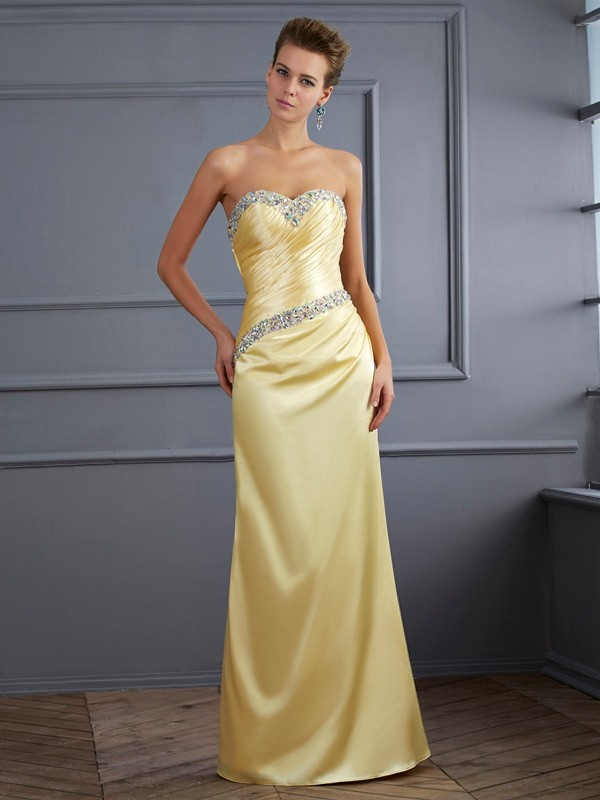 Chic Chic London Mermaid Style Sweetheart Beading Long Elastic Woven Satin Dresses
