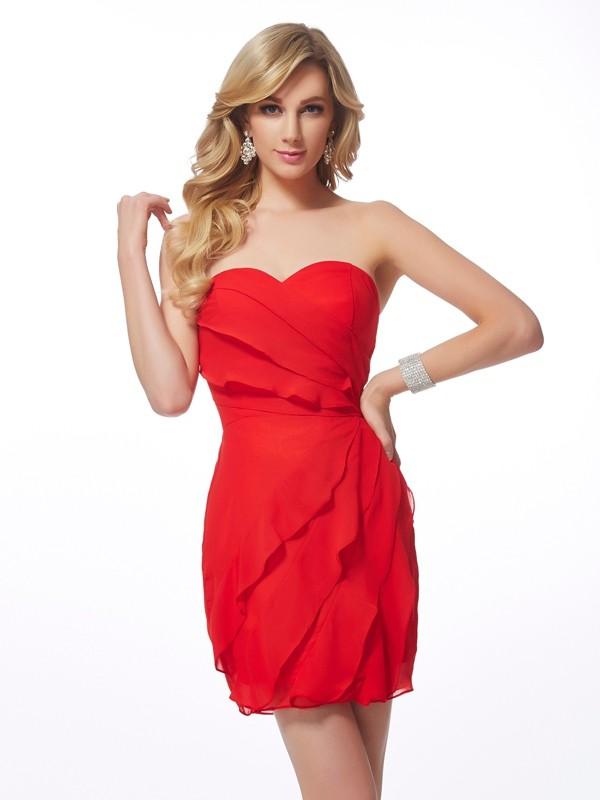 Treasured Reveries Sheath Style Sweetheart Ruffles Short Chiffon Homecoming Dresses
