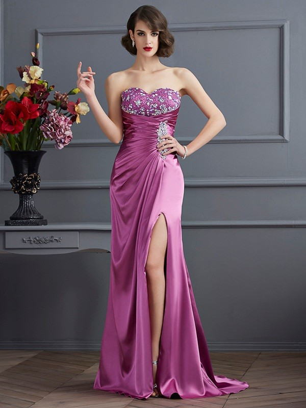 Creative Courage Sheath Style Sweetheart Beading Long Elastic Woven Satin Dresses