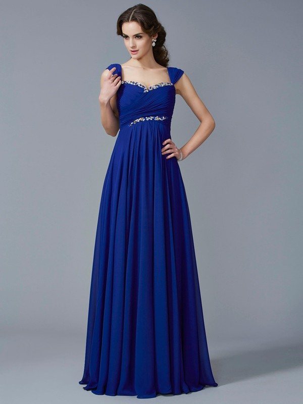 Voiced Vivacity Princess Style Sweetheart Beading Long Chiffon Dresses