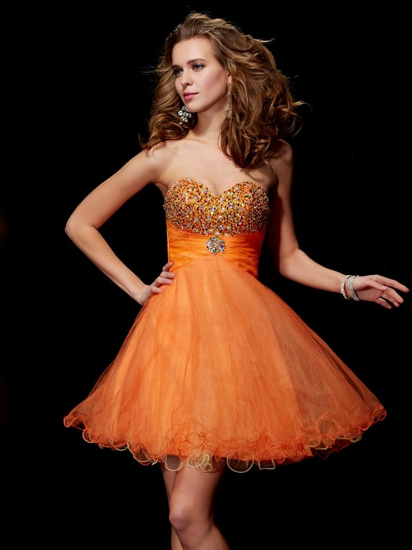 Sweet Sensation Princess Style Strapless Beading Short Organza Homecoming Dresses