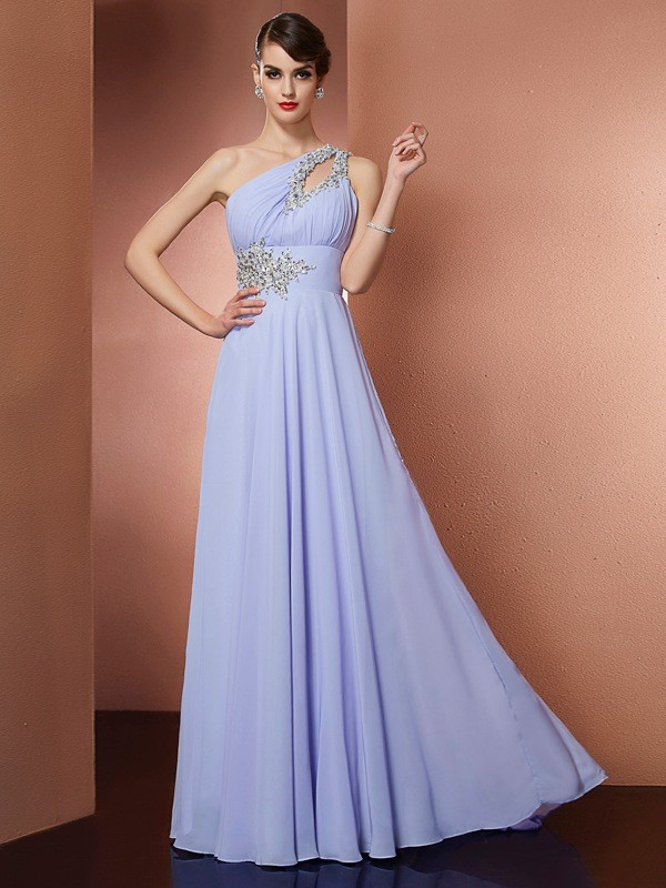Festive Self Princess Style One-Shoulder Applique Beading Long Chiffon Dresses