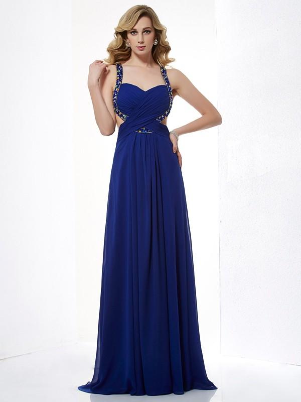 Styled to Smile Princess Style Halter Beading Long Chiffon Dresses