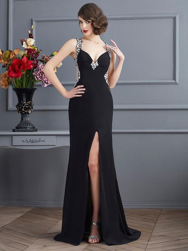 Visual Moment Sheath Style Straps Beading Long Chiffon Dresses