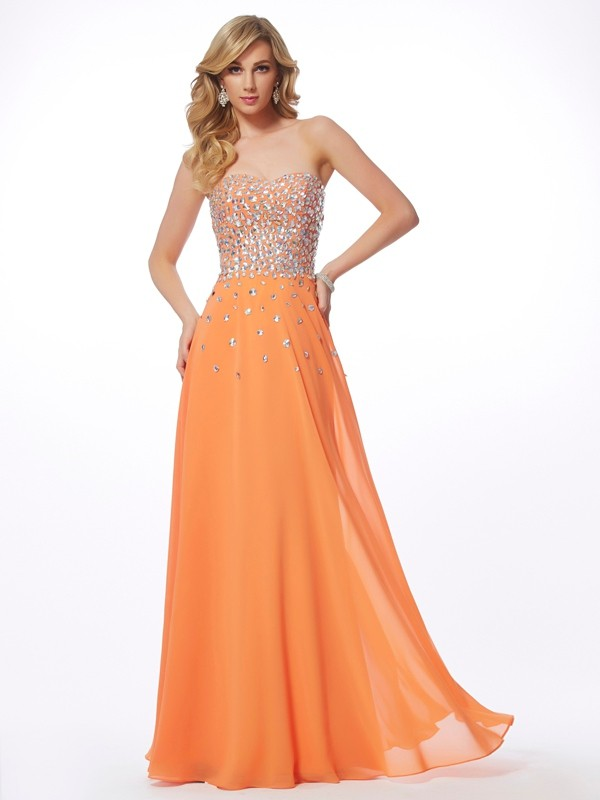 Open to Adoration Princess Style Sweetheart Rhinestone Long Chiffon Dresses
