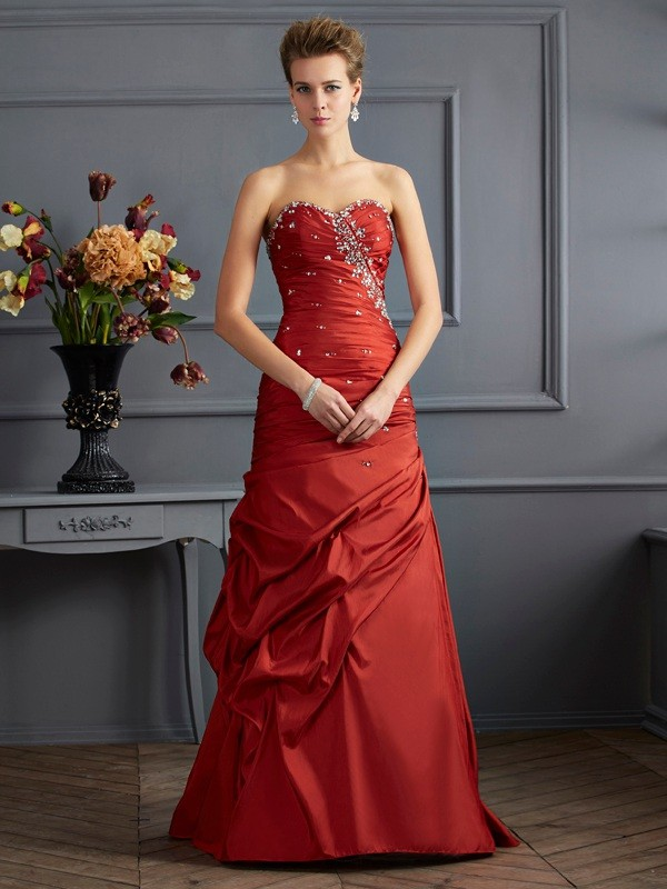Vibrant Stylist Mermaid Style Sweetheart Beading Long Taffeta Dresses