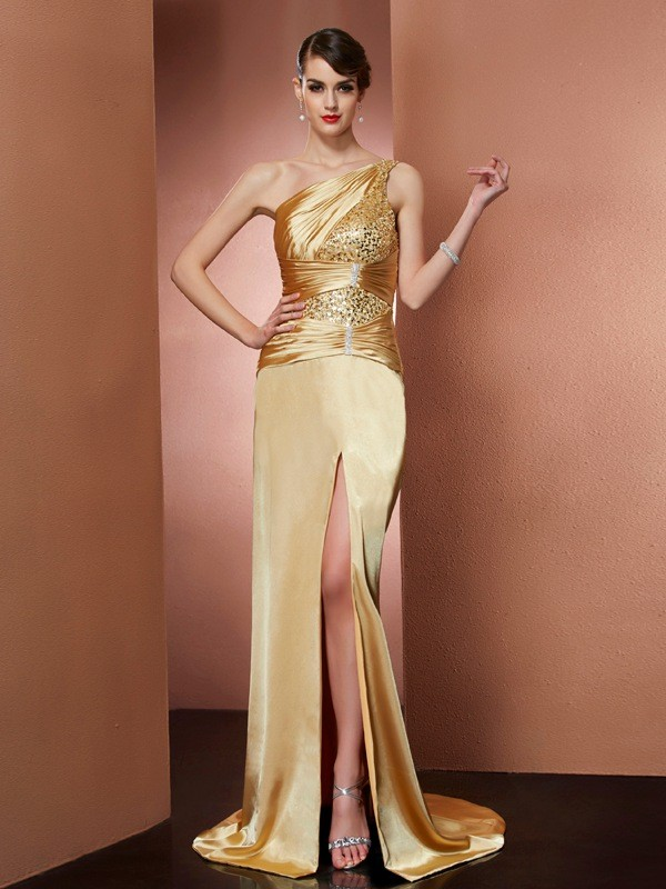 Defined Shine Sheath Style One-Shoulder Beading Long Elastic Woven Satin Dresses