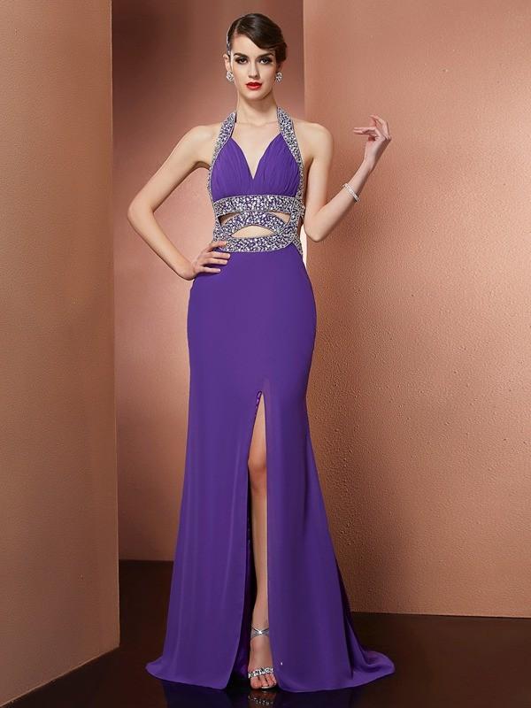 Dashing Darling Princess Style Halter Beading Long Chiffon Dresses