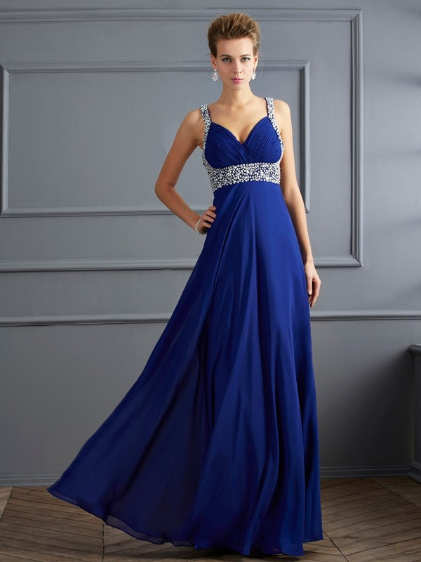 Befits Your Brilliance Sheath Style Straps Beading Long Chiffon Dresses