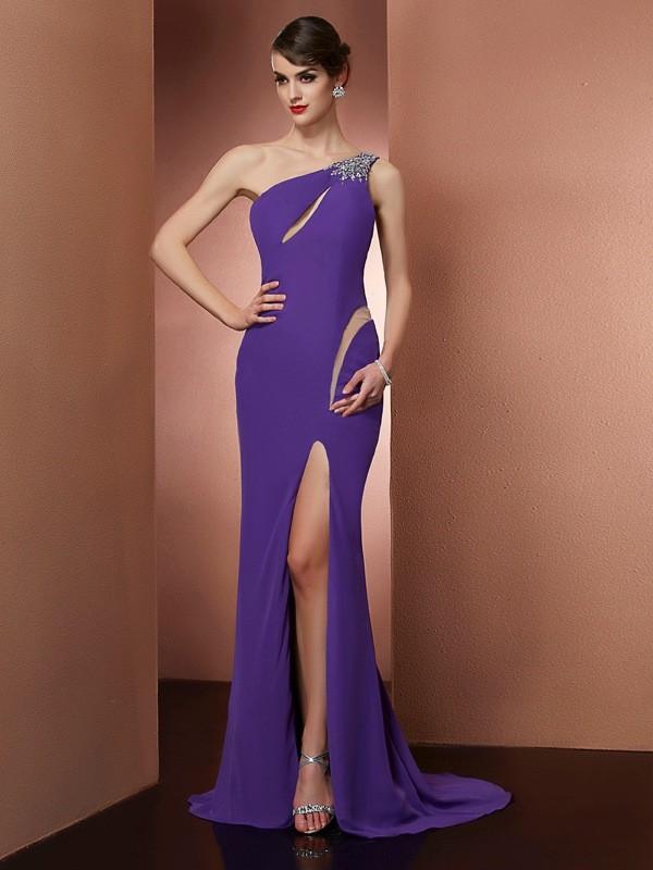 Aesthetic Honesty Princess Style One-Shoulder Beading Long Chiffon Dresses