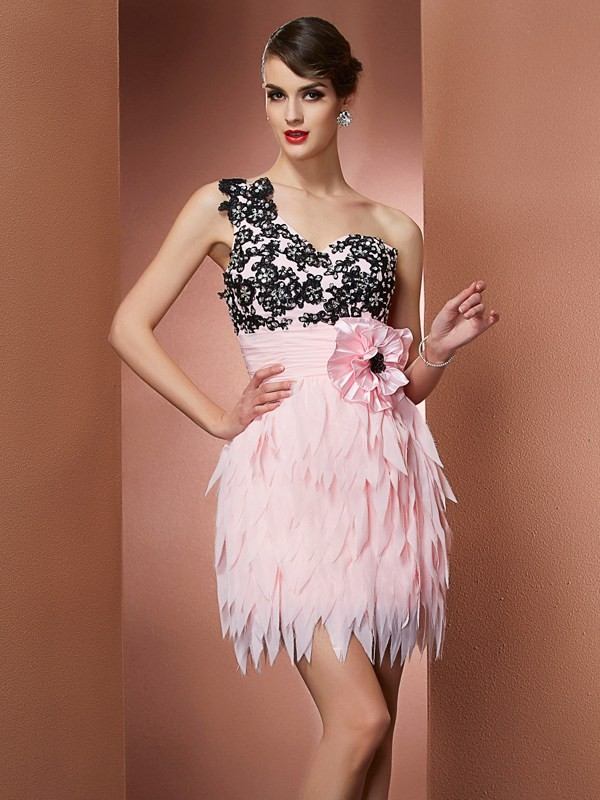 Creative Courage Princess Style One-Shoulder Hand-Made Flower Short Chiffon Homecoming Dresses