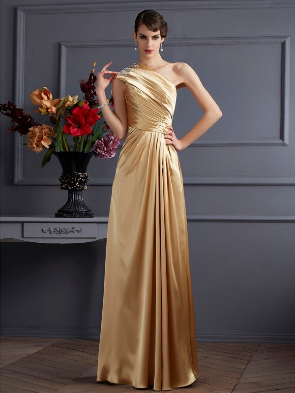 Efflorescent Dreams Princess Style One-Shoulder Beading Long Elastic Woven Satin Dresses