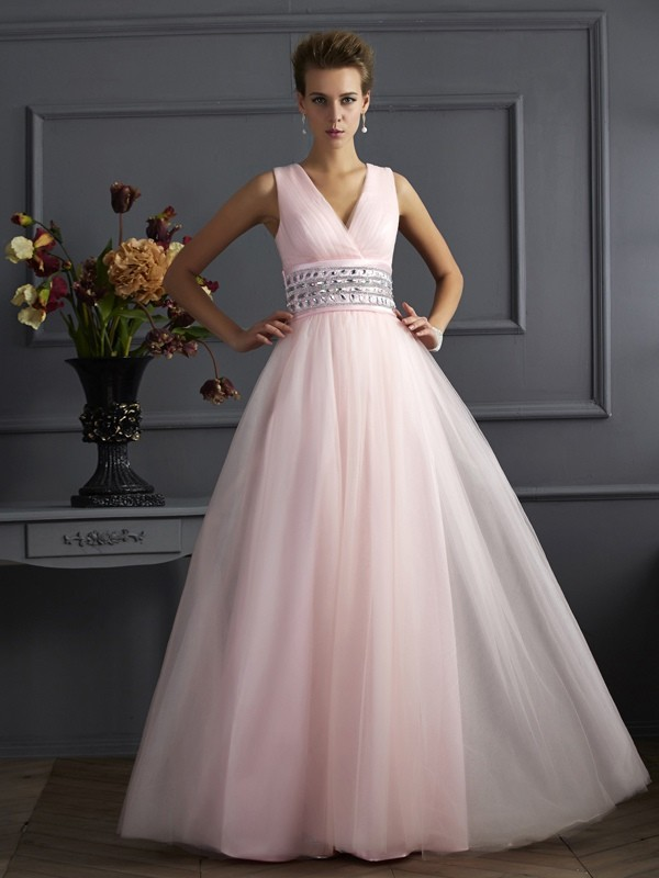 Pleased to be Me Ball Gown V-neck Beading Long Net Dresses