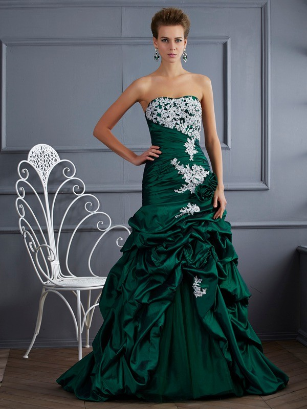 Fabulous Fit Ball Gown Strapless Applique Long Taffeta Quinceanera Dresses