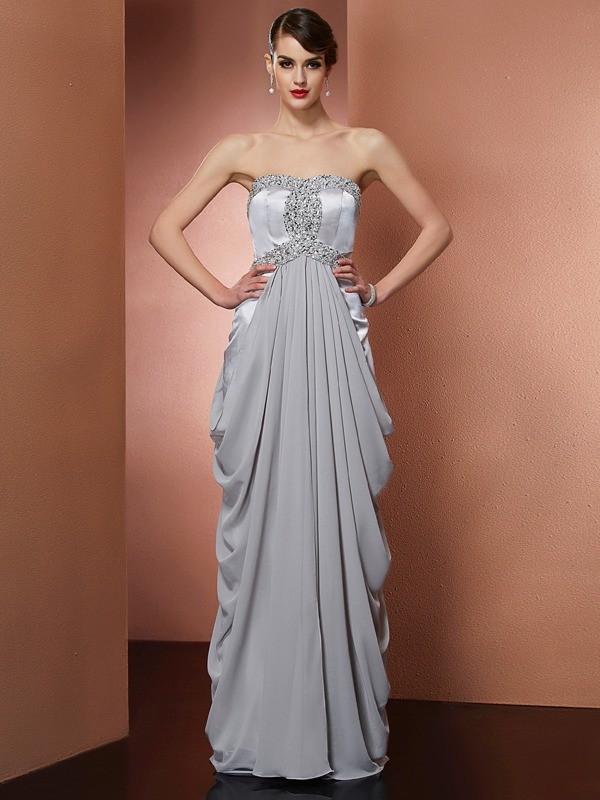 Visual Moment Sheath Style Strapless Beading Long Chiffon Dresses