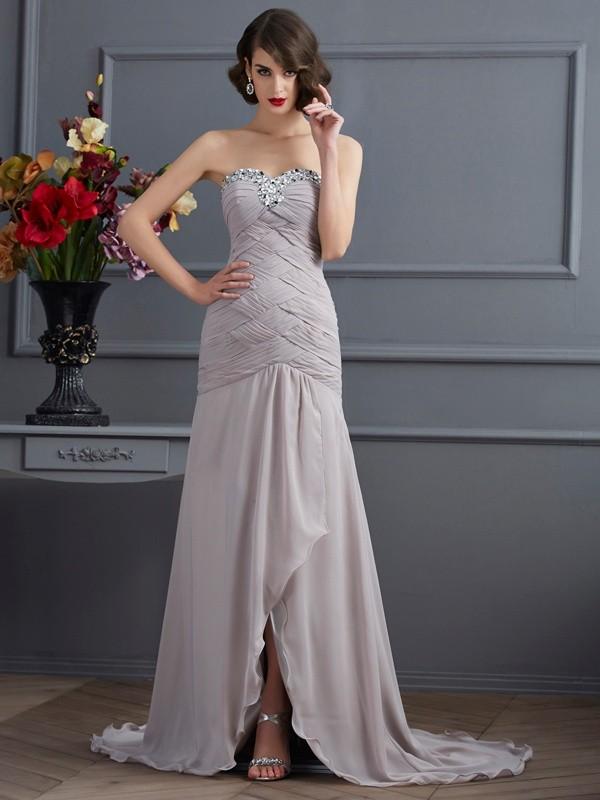 Cheerful Spirit Princess Style Sweetheart Beading Long Chiffon Dresses