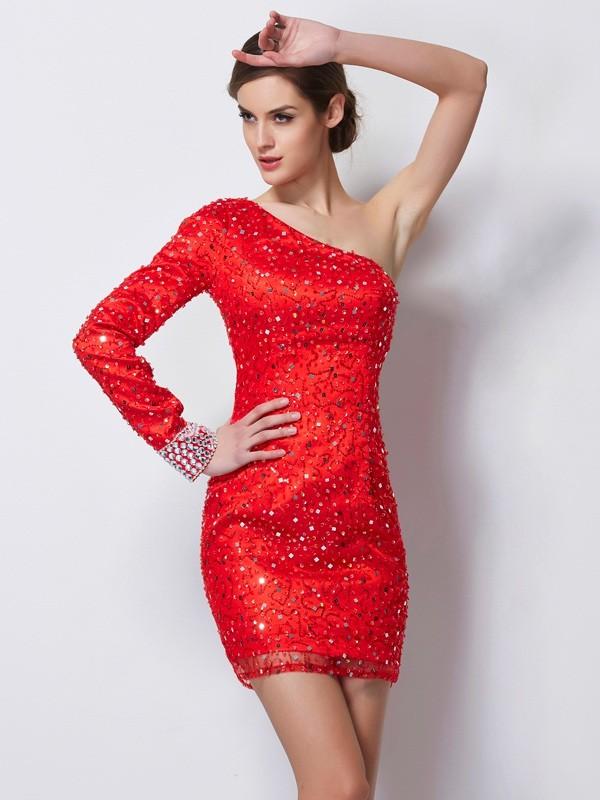 Stylish Refresh Sheath Style One-Shoulder Beading Short Elastic Woven Satin Homecoming Dresses