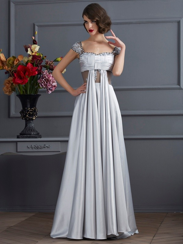 Vibrant Stylist Princess Style Off the Shoulder Pleats Long Elastic Woven Satin Dresses