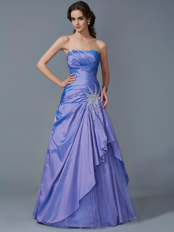 Yours Truly Ball Gown Strapless Beading Long Taffeta Quinceanera Dresses