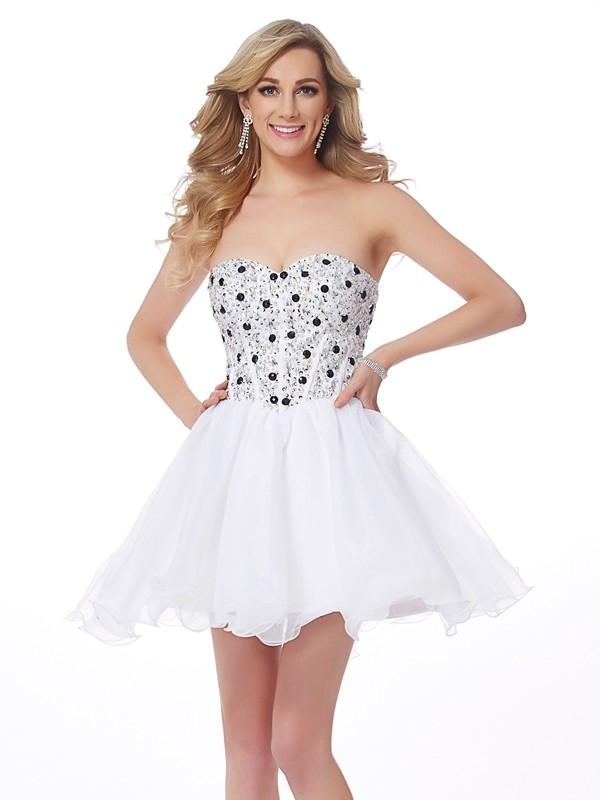 Romantic Vibes Princess Style Sweetheart Beading Short Elastic Woven Satin Homecoming Dresses