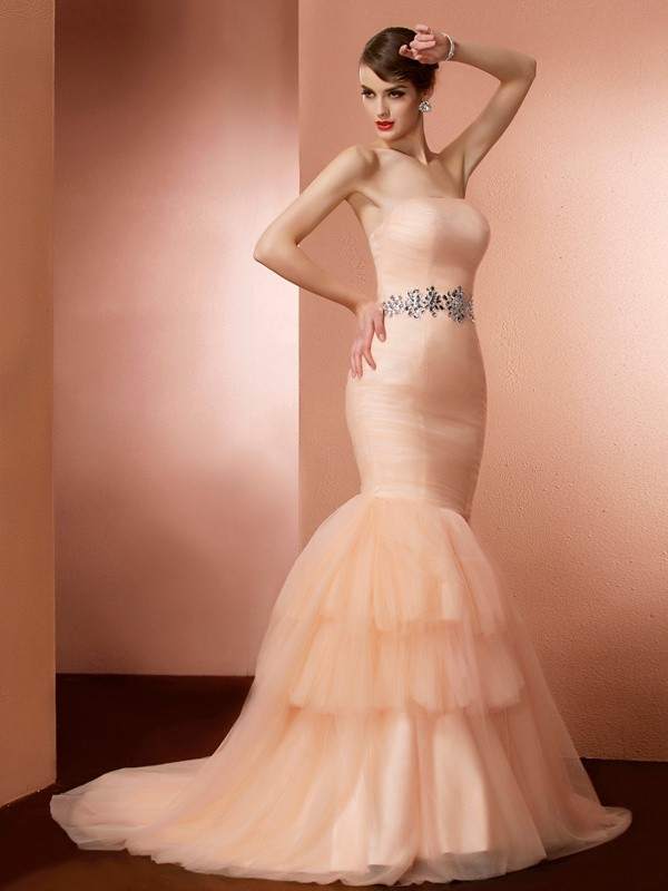 Defined Shine Mermaid Style Strapless Beading Long Net Dresses