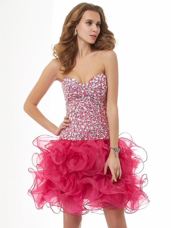 Savor the Occasion Sheath Style Sweetheart Beading Short Organza Homecoming Dresses