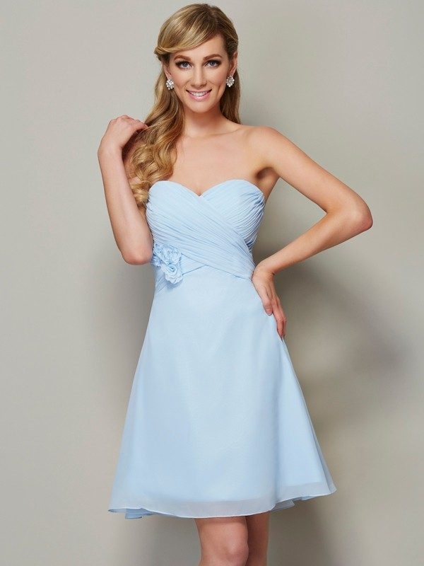 Absolute Lovely Princess Style Sweetheart Hand-Made Flower Short Chiffon Homecoming Dresses