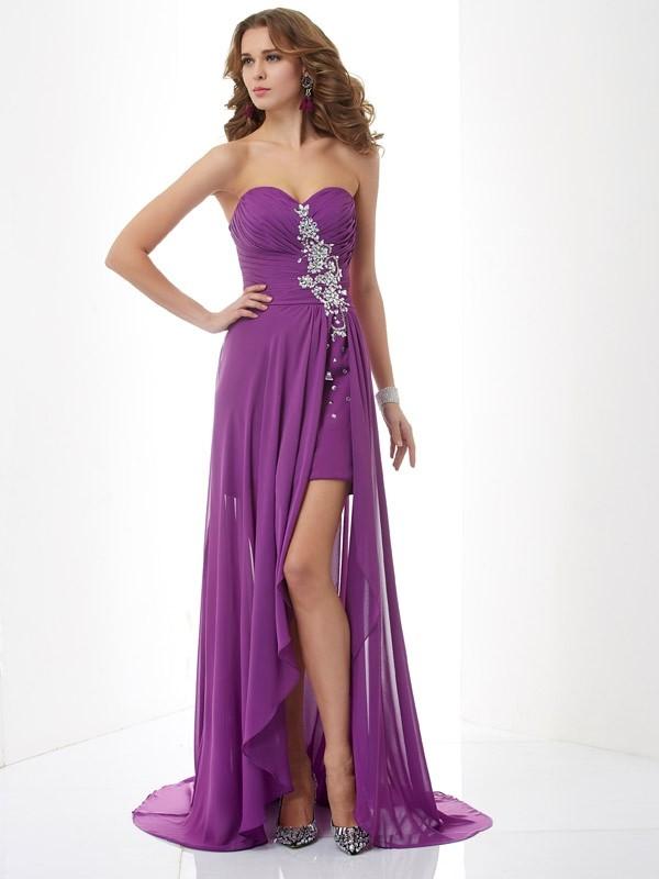 Pleasant Emphasis Princess Style Sweetheart Beading Long Chiffon Dresses