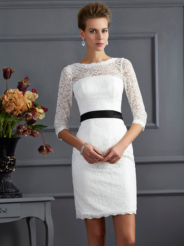 Chic Chic London Sheath Style Scoop Sash/Ribbon/Belt Short Lace Mother of the Bride Dresses