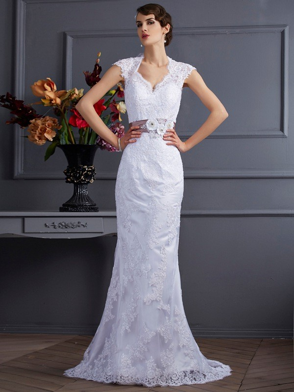 Confident Option Mermaid Style Applique Long Satin Wedding Dresses