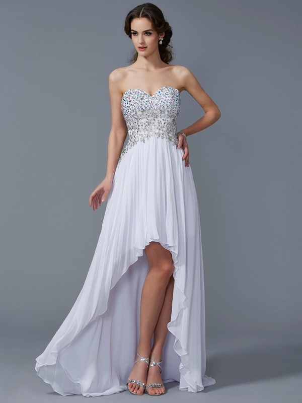 Romantic Vibes Princess Style Sweetheart Beading High Low Chiffon Dresses