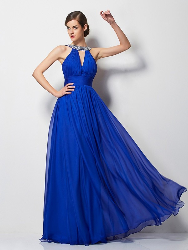 Styled to Smile Princess Style V-neck Beading Long Chiffon Dresses