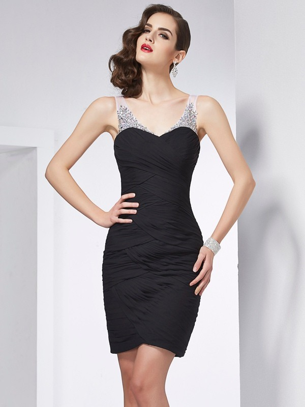 Visual Moment Sheath Style Straps Beading Short Chiffon Homecoming Dresses