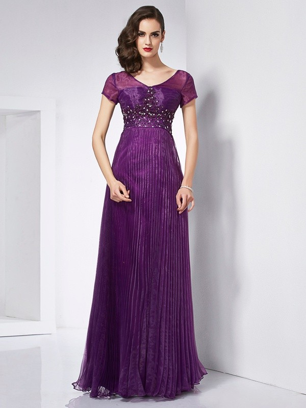 Open to Adoration Princess Style V-neck Beading Long Organza Dresses