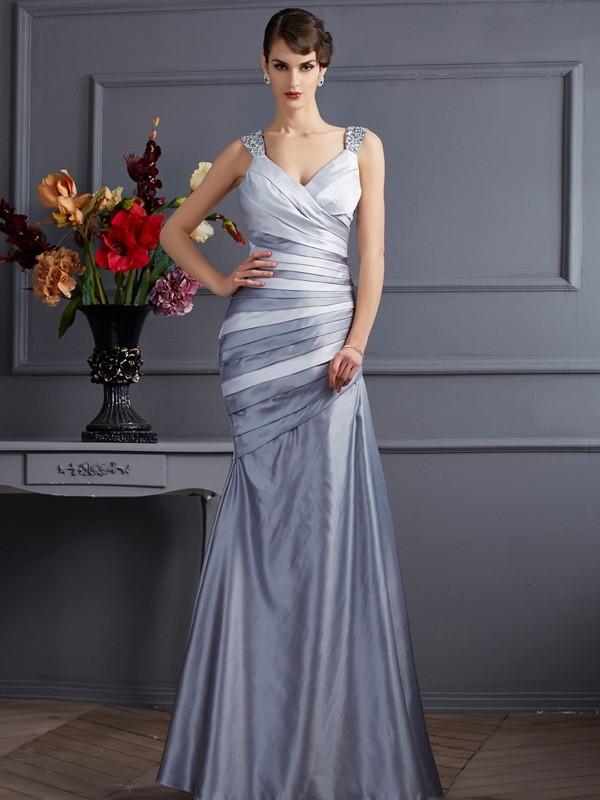 Romantic Vibes Mermaid Style Straps Pleats Long Satin Dresses