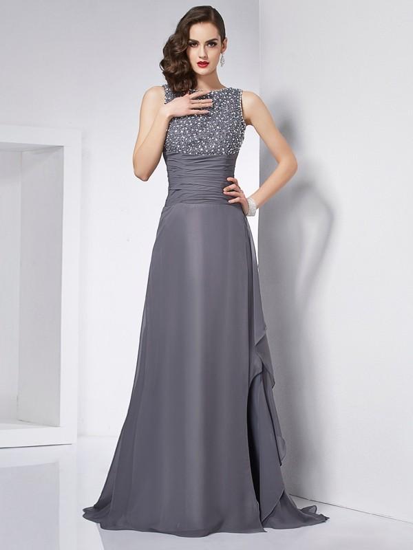 Beautiful You Princess Style Jewel Beading Long Chiffon Dresses