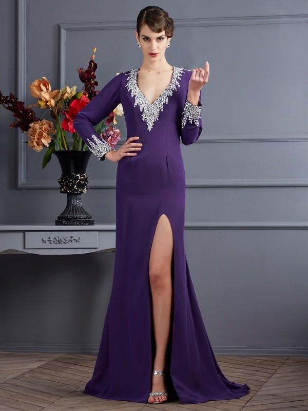 Eye-Catching Charm Mermaid Style V-neck Beading Long Chiffon Dresses
