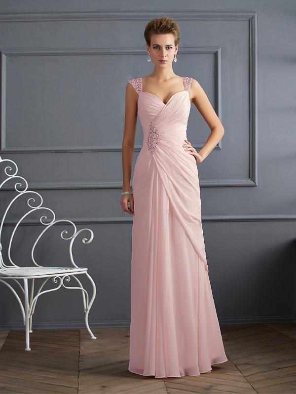 Sweet Sensation Sheath Style Straps Beading Long Chiffon Dresses