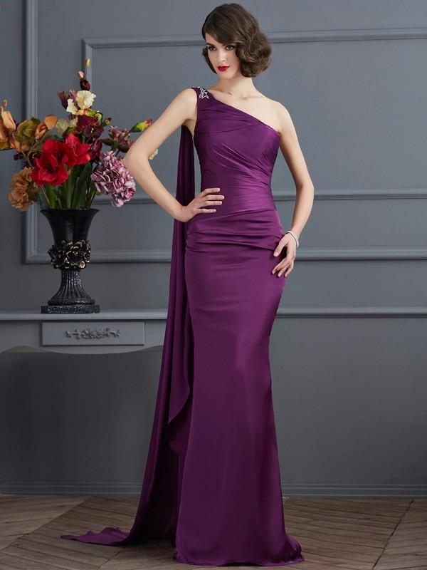 Visual Moment Sheath Style One-Shoulder Long Chiffon Dresses